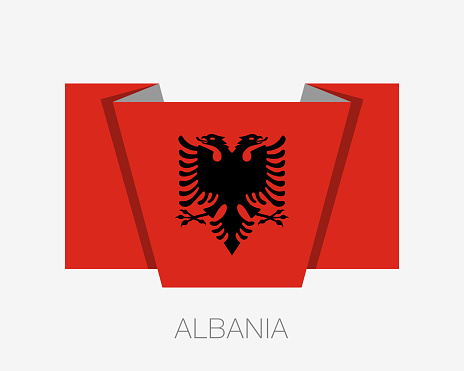 Flag of Albania. Flag of. Flat Icon Waving Flag with Country Name on a White Background