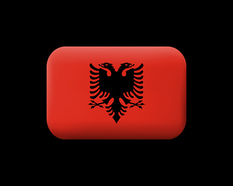 Flag of Albania. Matted Vector Icon and Button. Rectangular Shape with Rounded Corners