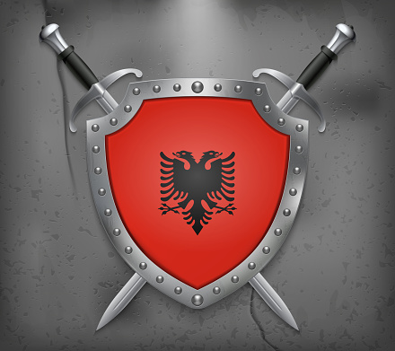 Flag of Albania. The Shield with National Flag. Two Crossed Swords. Vector Medieval Background