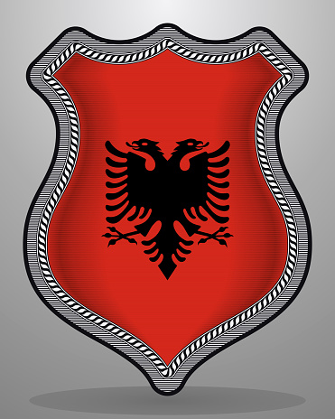 Flag of Albania. Vector Badge and Icon with Central Glossy National Symbol
