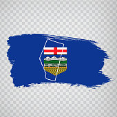 istock Flag of  Alberta from brush strokes. Blank map of  Alberta. Canada. High quality map of Alberta and flag on transparent background. Stock vector.  EPS10. 1217531193