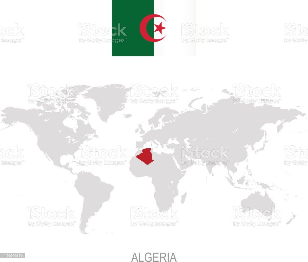 Flag Of Algeria And Designation On World Map stok vektör sanatı ...