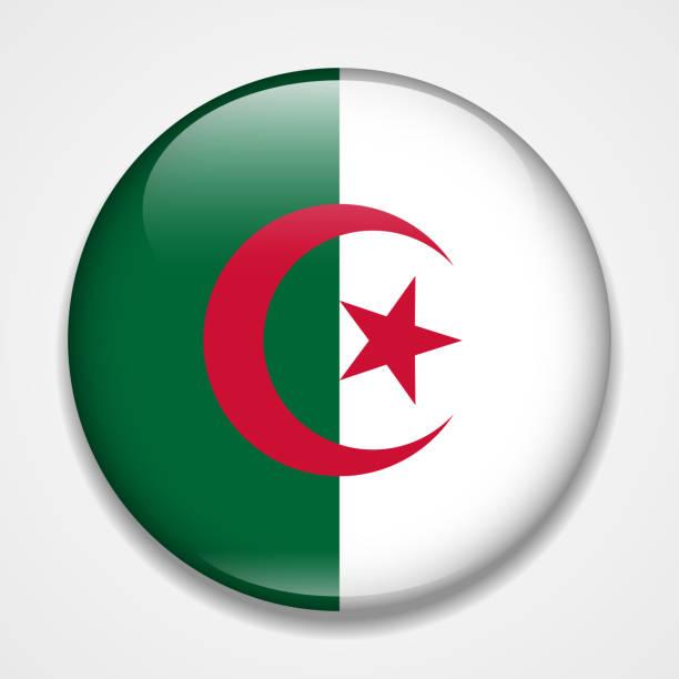 阿爾及利亞國旗。圓形光面徽章 - 阿爾及利亞 幅插畫檔、美工圖案、卡通及圖標