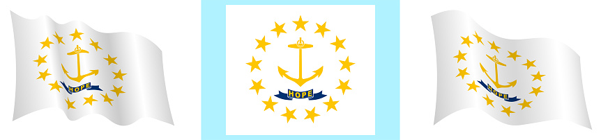 flag of american state of Rhode Island in static position and in motion, fluttering in wind in exact colors and sizes, on white background