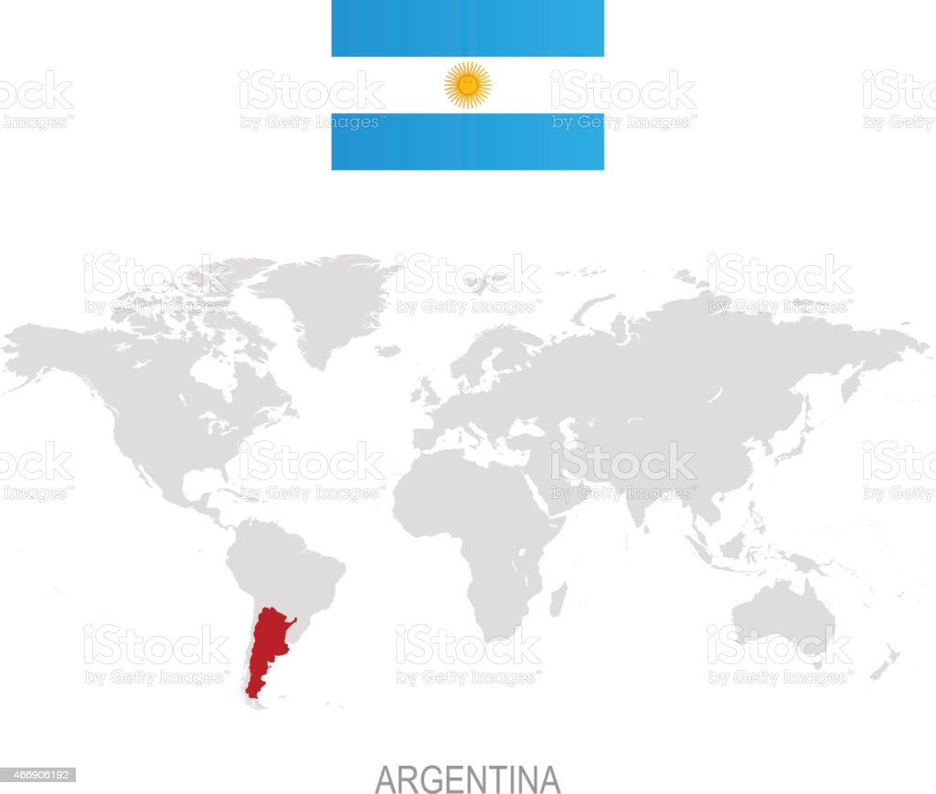 Flag Of Argentina And Designation On World Map Stock Vector Art ...