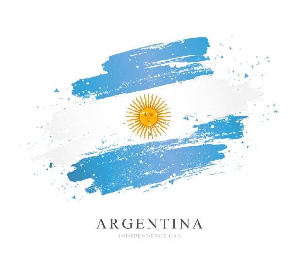 Flagge von Argentinien. Vektordarstellung auf weißem Hintergrund. – Vektorgrafik