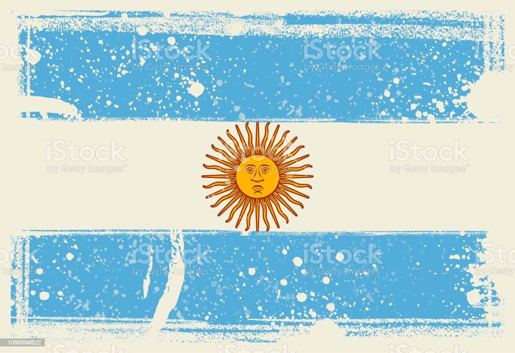 Flag of Argentina. Vector Illustration with grunge frame vector art illustration