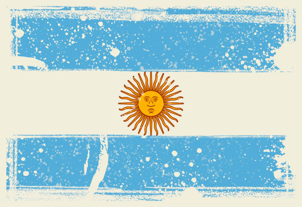flag of argentina. vector illustration with grunge frame - argentina flag stock illustrations, clip art, cartoons, & icons