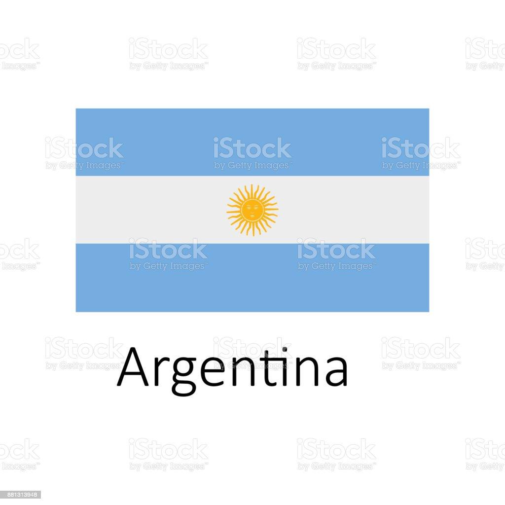 Ilustración de Bandera De Argentina Con El Icono De Nombre Oficial ...