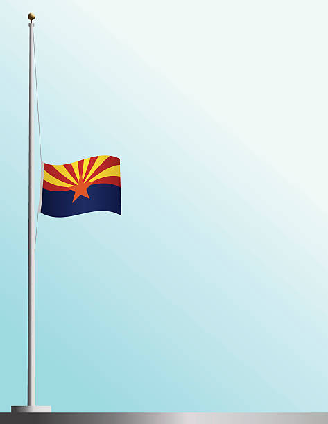 Flag of Arizona at Half-Staff vector art illustration