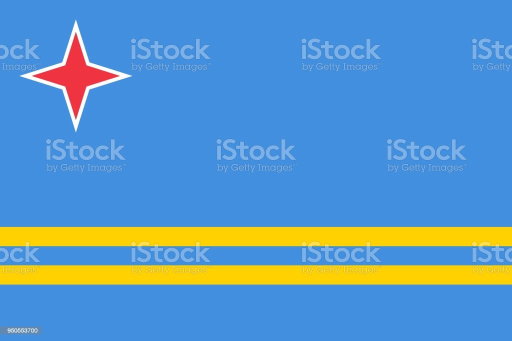 Flag of Aruba official colors and proportions, vector image vector art illustration