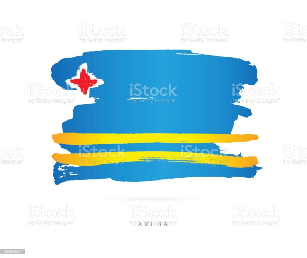 Flag of Aruba. Vector illustration on vector art illustration