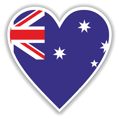 Flag of Australia in heart with shadow and white outline