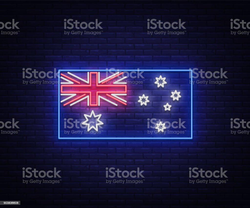 Flag of australia is a neon sign vector illustrations neon banner flag of australia is a neon sign vector illustrations neon banner luminous billboard buycottarizona Choice Image