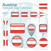 Flag of Austria, icon collection, vector illustration