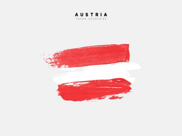 illustrazioni stock, clip art, cartoni animati e icone di tendenza di flag of austria. - austria