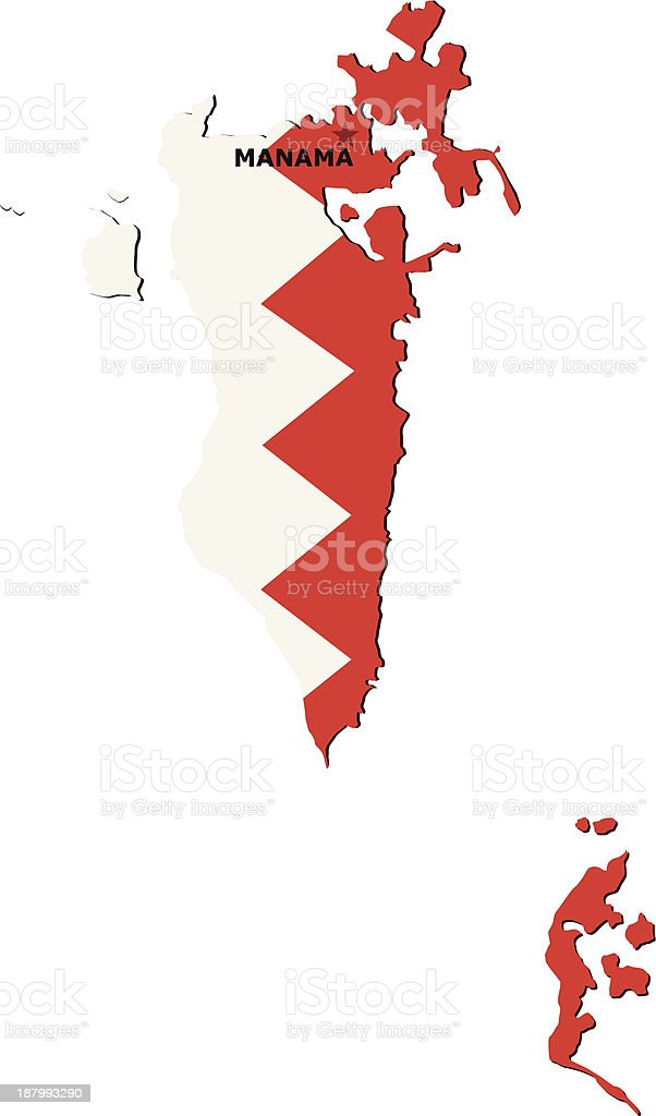 Flag Of Bahrain royalty-free stock vector art
