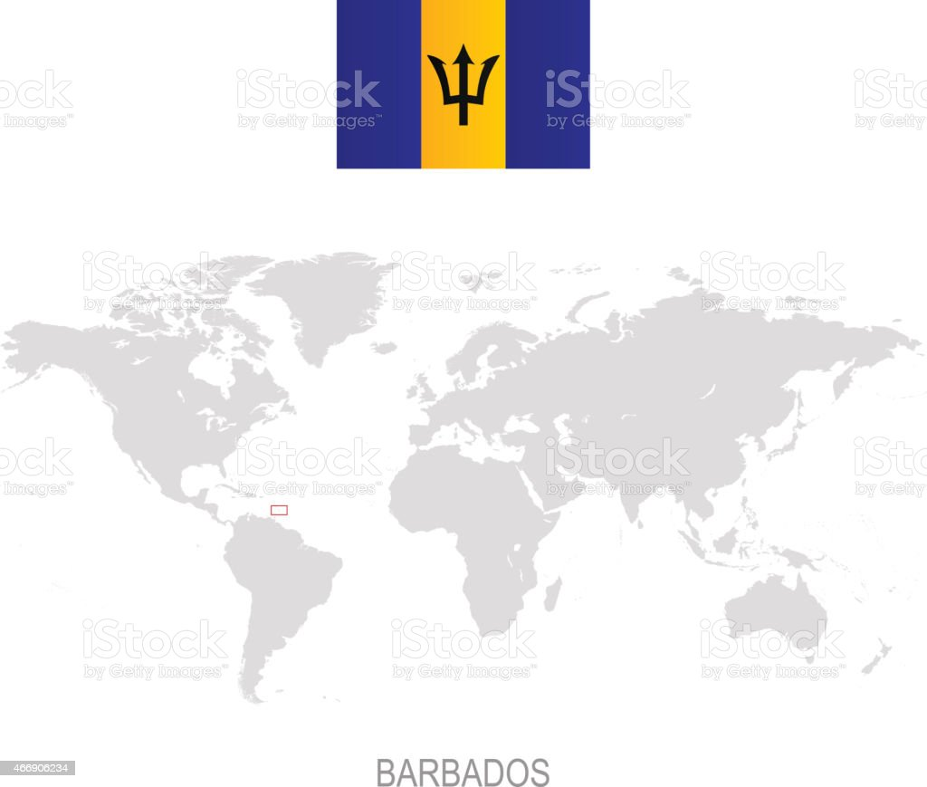 Picture of: Flag Of Barbados And Designation On World Map Stock Illustration Download Image Now Istock