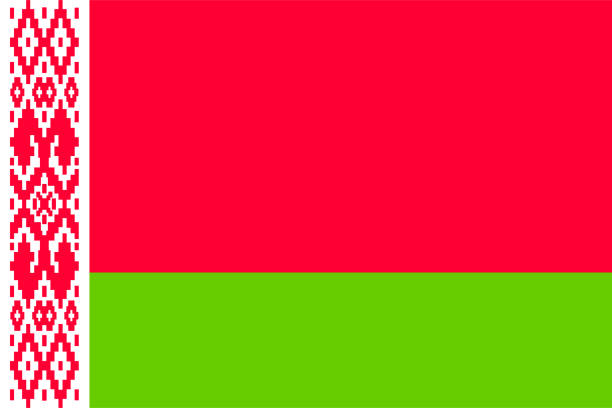 flag of belarus - białoruś stock illustrations