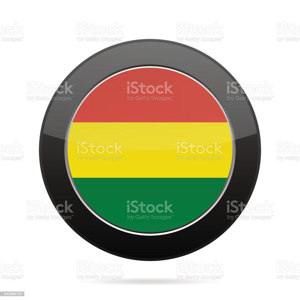 Bandera de Bolivia. Pulsador redondo negro brillante. - ilustración de arte vectorial
