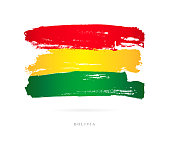 Flag of Bolivia. Vector illustration on white background. Beautiful brush strokes. Abstract concept. Elements for design.