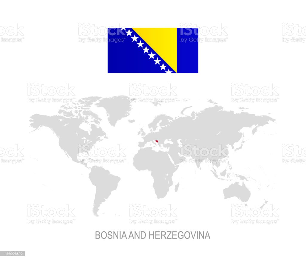 Flag Of Bosnia And Herzegovina And Designation On World Map Stock Illustration Download Image Now Istock