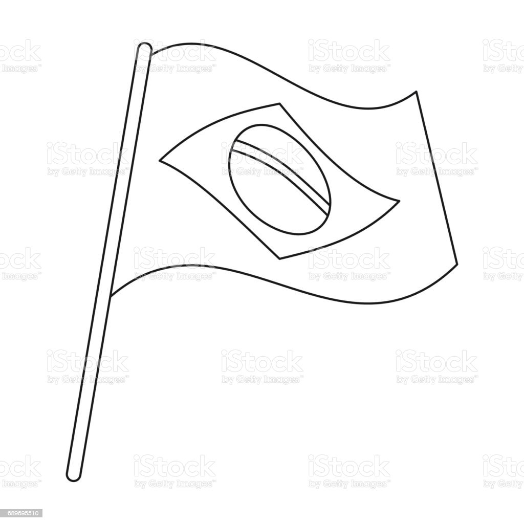 Flag Of Brazil Icon In Outline Style Isolated On White ...