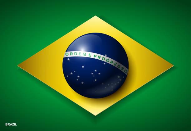 bildbanksillustrationer, clip art samt tecknat material och ikoner med brasiliens flagga i 3d-effekt-vektor illustration - brasilien flagga