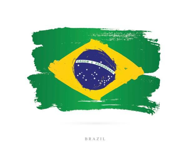 ilustrações, clipart, desenhos animados e ícones de bandeira do brasil. ilustração vetorial - brazil