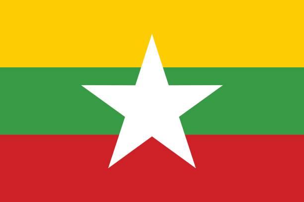 stockillustraties, clipart, cartoons en iconen met vlag van birma - myanmar