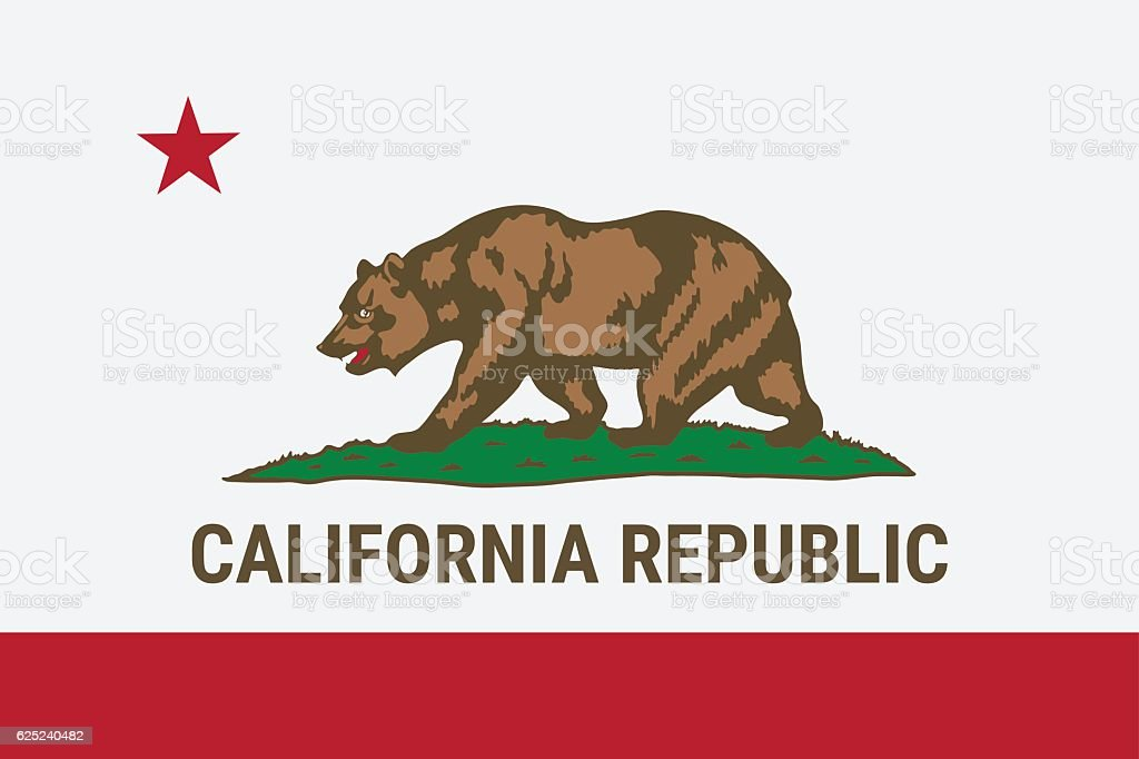 Flag of California American state vector art illustration