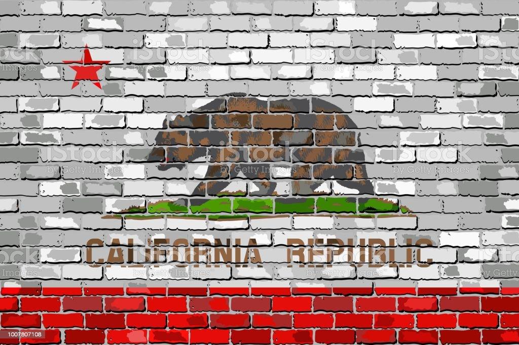Flag of California on a brick wall - ilustração de arte vetorial