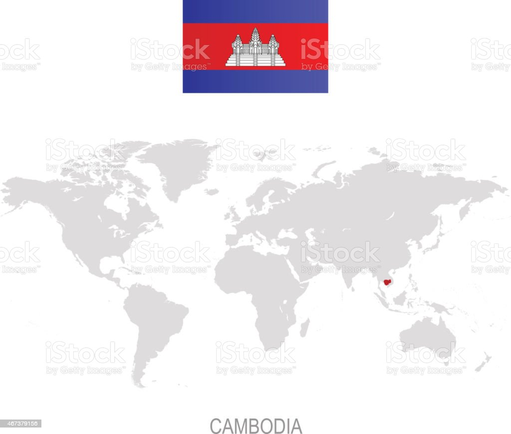 Flag Of Cambodia And Designation On World Map Stock Vector Art ...