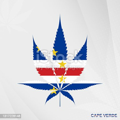 istock Flag of Cape Verde in Marijuana leaf shape. The concept of legalization Cannabis in Cape Verde. 1317228148