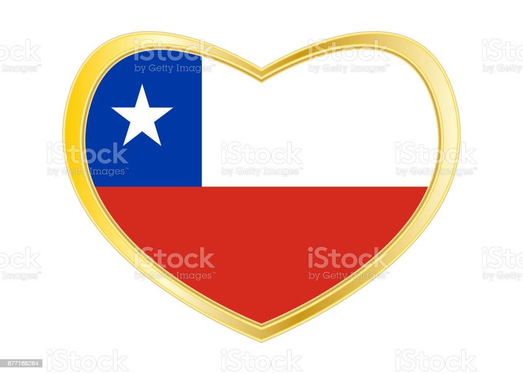 Flag of Chile in heart shape, golden frame vector art illustration