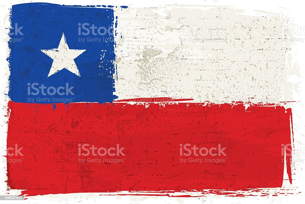 Flag of Chile on Wall vector art illustration