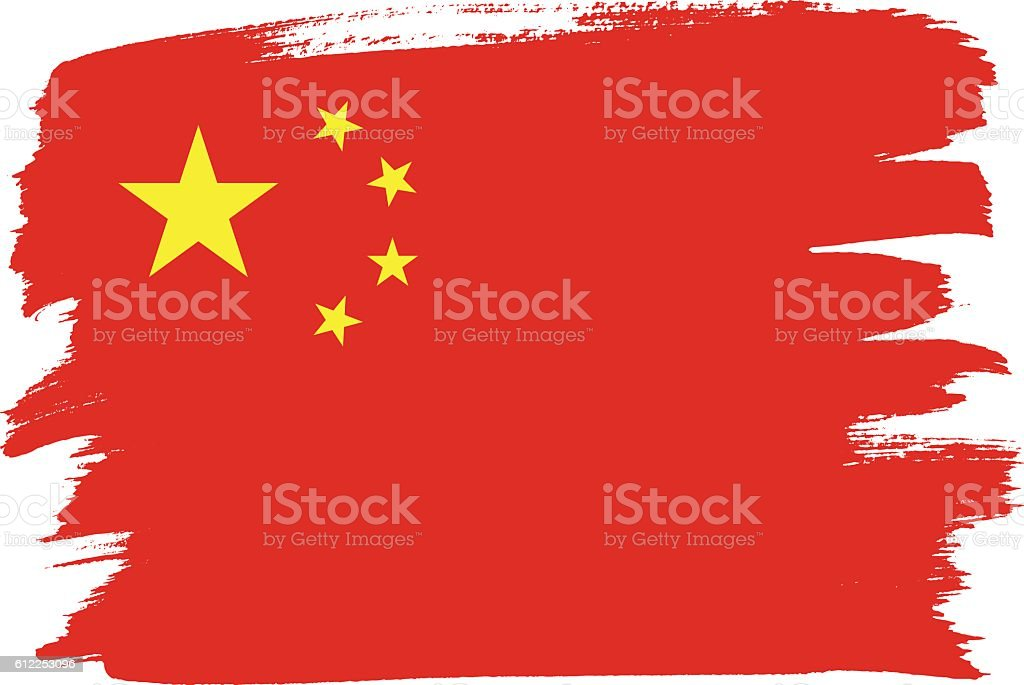 Flag of China with brush strokes painted vector art illustration