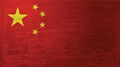 Vector of China flag with grunge texture. EPS ai 10 file format.
