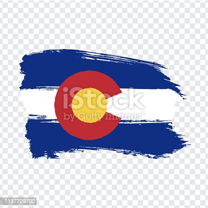 istock Flag of Colorado from brush strokes. United States of America.  Flag Colorado on transparent background for your web site design, logo, app, UI. Stock vector. Vector illustration EPS10. 1137729702