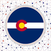 Flag of Colorado with network background.