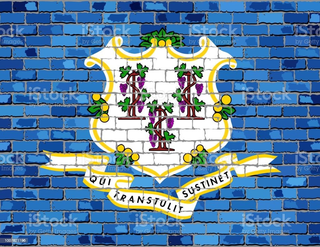 Flag of Connecticut on a brick wall - ilustração de arte vetorial