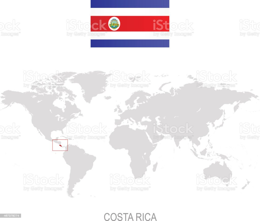 Flag Of Costa Rica And Designation On World Map Stock Vector Art
