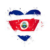 Flag of Costa Rica in the form of a big heart. Vector illustration on a white background. Brush strokes are drawn by hand. Independence Day.