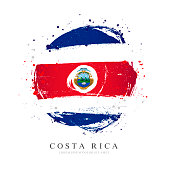 Flag of Costa Rica in the shape of a large circle. Vector illustration on a white background. Brush strokes are drawn by hand. Independence Day.
