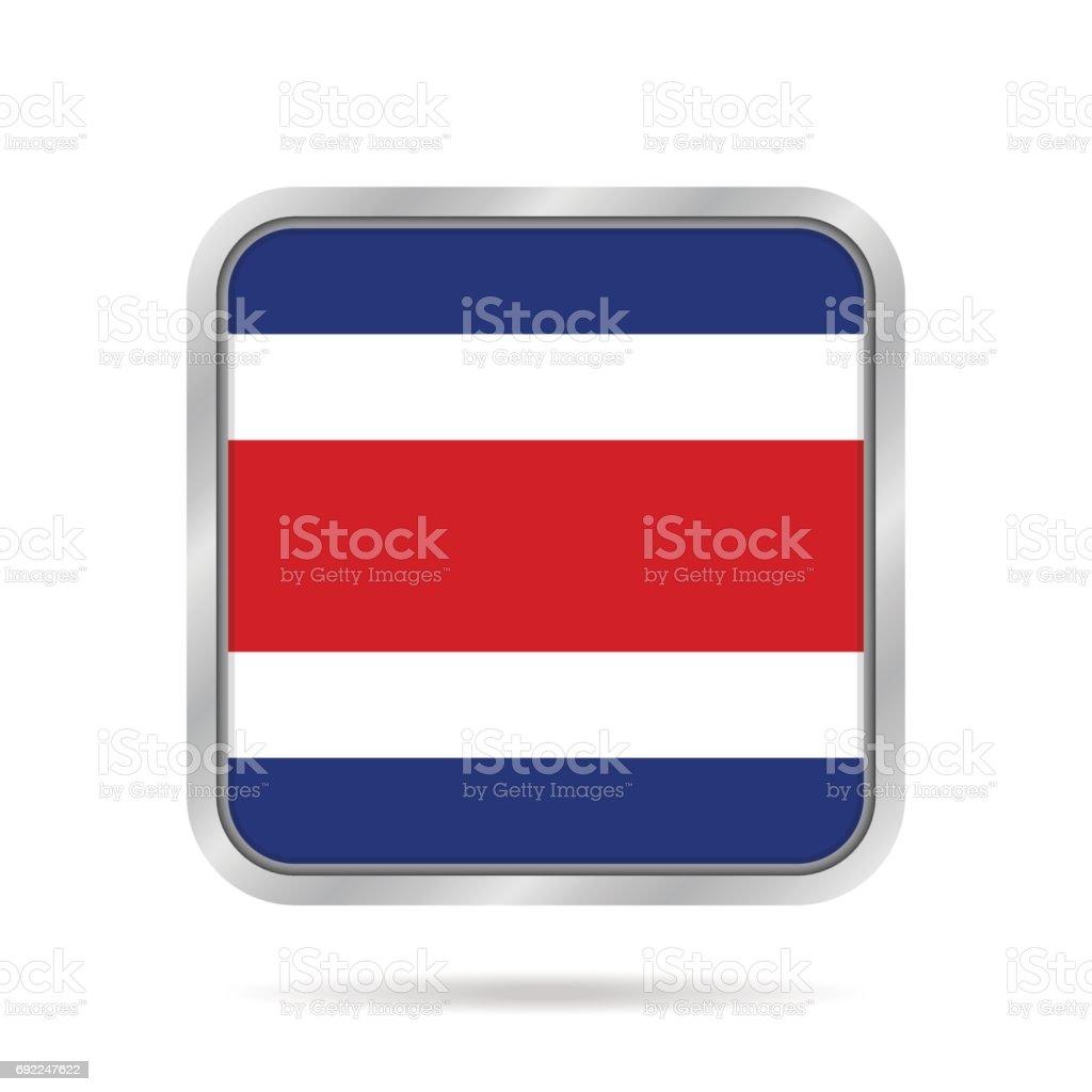 Bandeira da Costa Rica. Botão quadrado cinzento metálico. - ilustração de arte em vetor