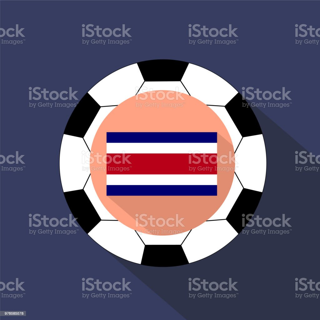 Flag of Costa Rica on a blue background. Soccer ball