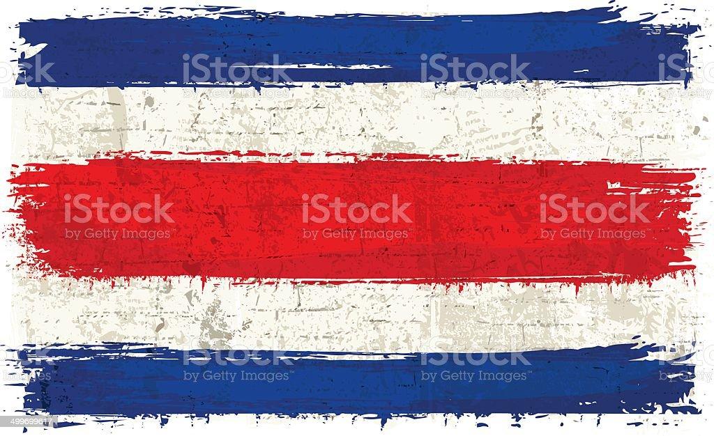 Drapeau du Costa Rica sur le mur - Illustration vectorielle
