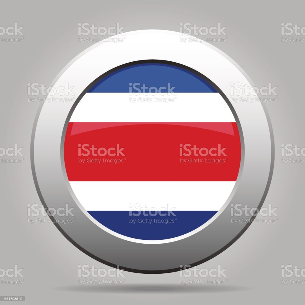 Flag of Costa Rica. Shiny metal gray round button. vector art illustration