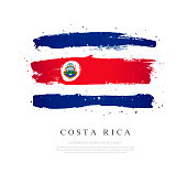 Flag of Costa Rica. Vector illustration on a white background. Brush strokes are drawn by hand. Independence Day.