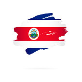 Flag of Costa Rica. Vector illustration on a white background. Brush strokes are drawn by hand.